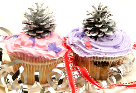 Delicious cupcakes decorated with cream and candy colored ornaments Stock Photo - 15687759