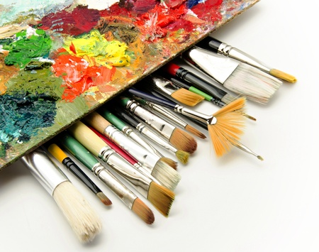 paleta de pintor: Paleta se utiliza con pinturas de aceite mezcladas en diferentes colores