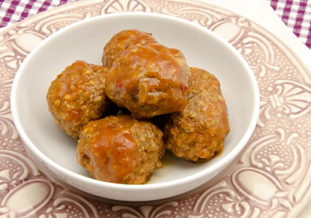 Stew beef meatballs with tomato sauce typical of Spain photo