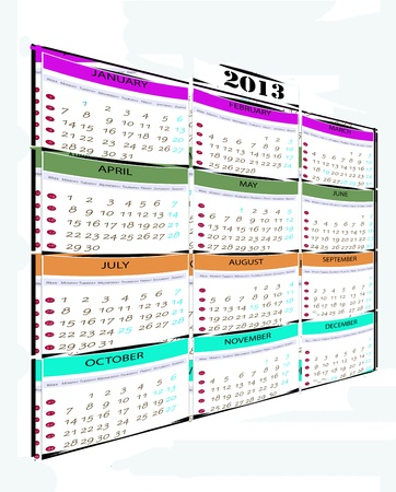 Calendar year 2013, which shows every month Stock Photo - 16123415