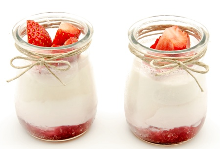 Yogurt cream with strawberry jam  photo