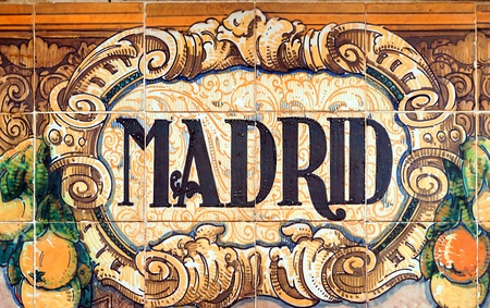 Laying ceramic letters the name from the Spanish city of Madrid photo