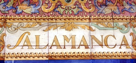 Laying ceramic letters the name from the Spanish city of Salamanca Stock Photo - 17154909