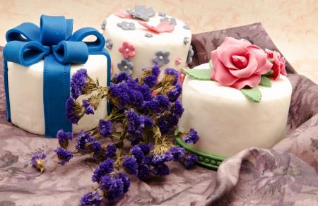 boda pastel: Pastel decorado con fondant