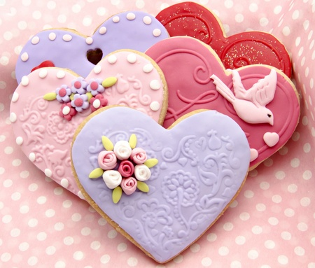 Valentine cookies decorated with heart shape Stock Photo