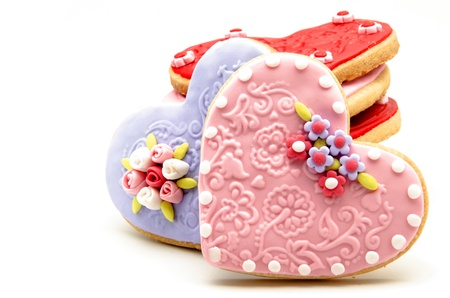 Galletas de San Valentín decorada con forma de corazón Foto de archivo
