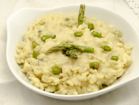 Risotto with green asparagus photo