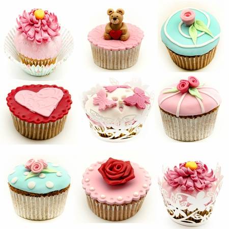 fruit cake: Mural of several cupcakes Stock Photo
