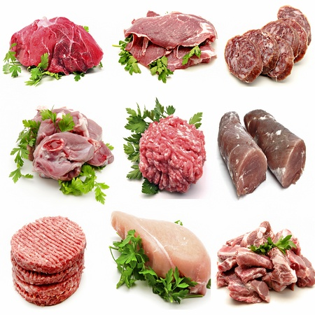 Mural various meats Banco de Imagens