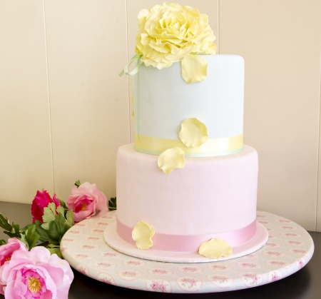 pastel boda: Pastel de bodas decorado con fondant
