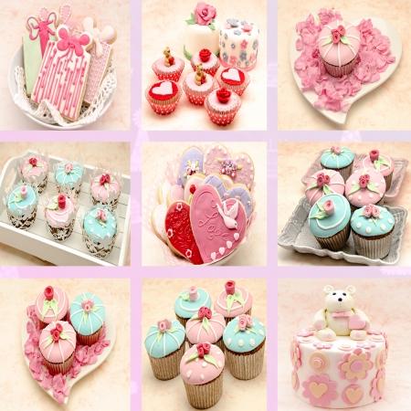 fondant: Murale di cupcakes e biscotti