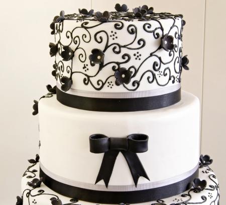 Wedding cake decorated with fondant photo
