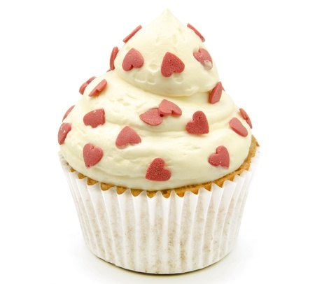 candy hearts: Cupcakes decorated with butter cream and flowers