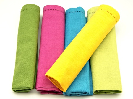 mantel: Napkins in various colors Stock Photo
