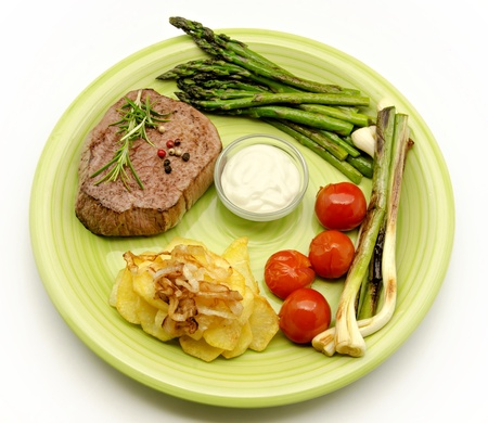 Fillet of beef with grilled vegetables photo