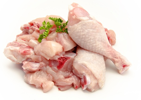 roasted chicken: Pieces of raw chicken meat Stock Photo
