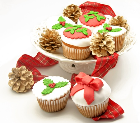 fondant: Christmas Cupcakes Stock Photo
