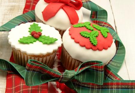 icing sugar: Christmas Cupcakes Stock Photo
