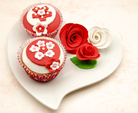Cupcakes decorated with fondant photo