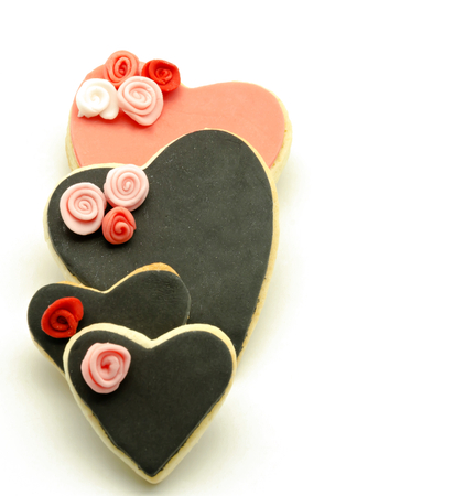 Valentine cookies decorated with fondant photo