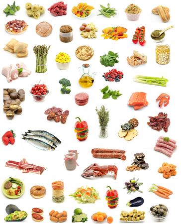Collage vertical food assortment on white background photo
