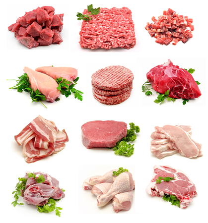 animal blood: Collage of various types of raw meat on white background