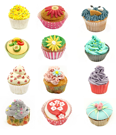 Collage of various types of cupcakes on white background photo