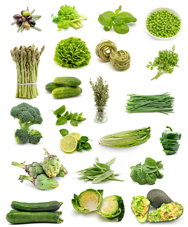 Collage vertical vegetable food assortment on white background