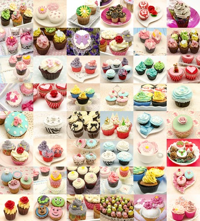 Vertical Collage of assorted cupcakes decorated photo