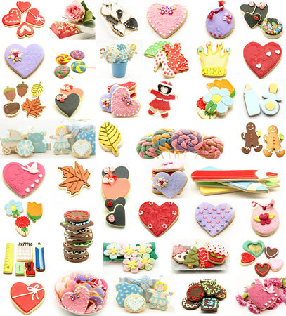 Collage of cookies decorated with icing and fondant photo