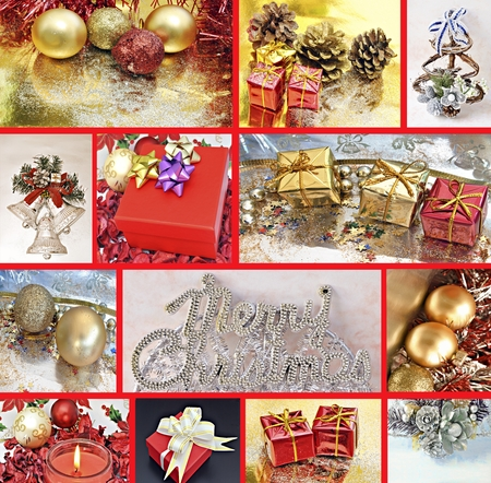 Vertical Collages with Christmas decorations and gift boxes photo