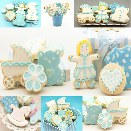 Collages of cookies decorated with childrens motifs photo