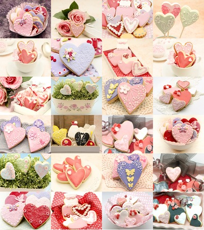 christmas cake: Collage of cookies decorated with heart-shaped