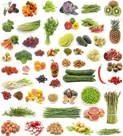 Collage of fresh fruits and vegetables vertical photo