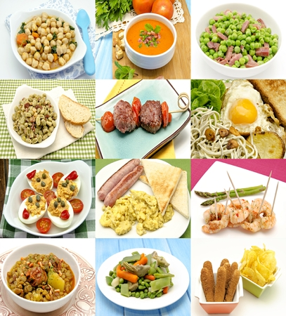 Collage of cooked dishes typical of Spain