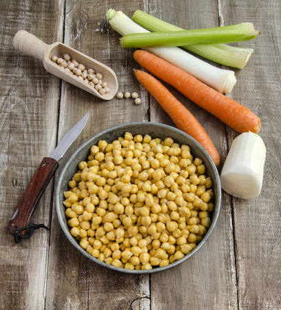 Ready to cook chickpeas with vegetables  photo