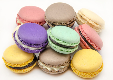 Parisian Macarons tradcional biscuit filled with cream photo