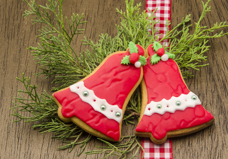 Christmas cookies decorated with fondant photo