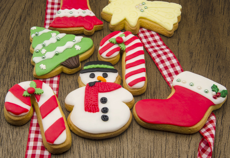 christmas cookies decorated with fondant stock photo 31447712
