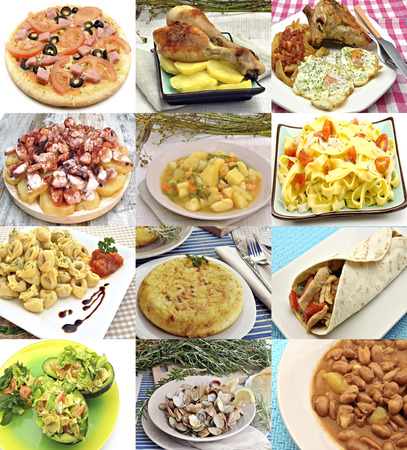 Collage of dishes cooked Mediterranean food photo
