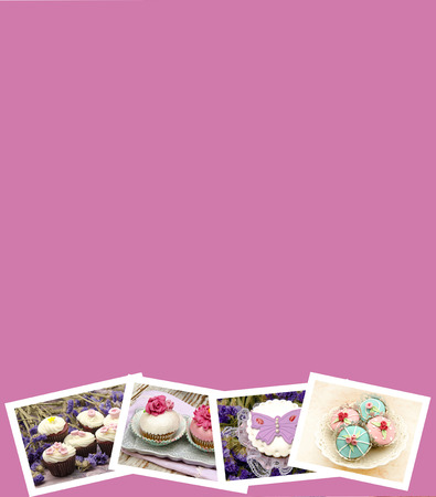 Collage with pictures of cupcakes and pink background photo
