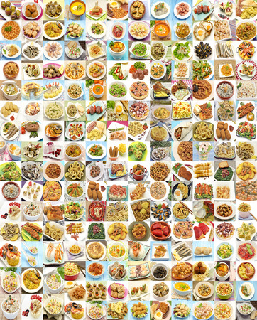 Collage with variety of food and dishes cooked photo