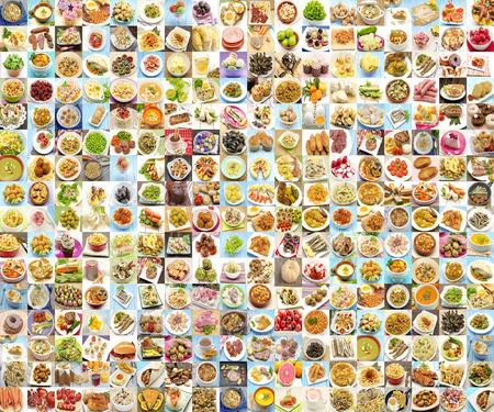 Collage met verscheidenheid van voedsel en gerechten gekookt