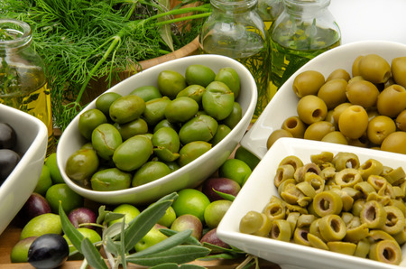 food dressing: Freshly harvested olives Stock Photo