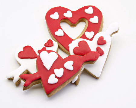 Butter cookies decorated with motifs valentines photo