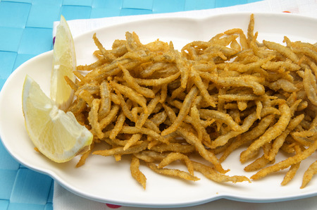 Small fried whitebait served on a plate photo