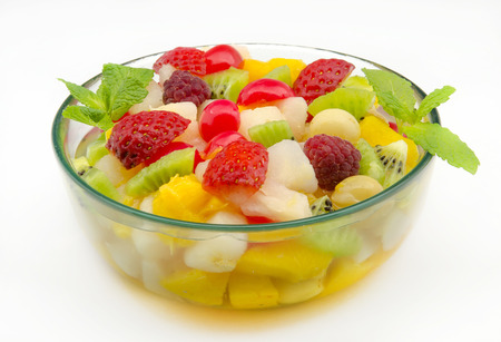 Fresh fruit salad served in a bowl photo