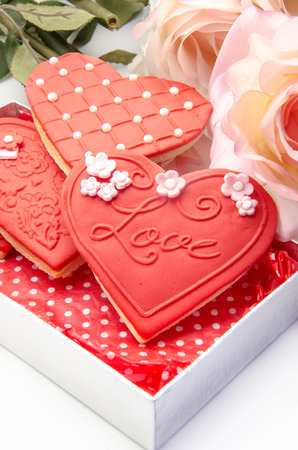 Butter Cookies with heart shaped fondant decorated photo