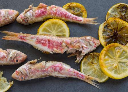 mullet: Several fresh mullet grilled with lemon slices