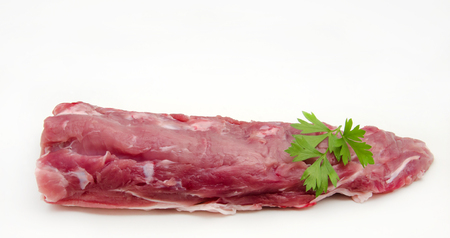 Fresh raw pork surrounded by white background photo